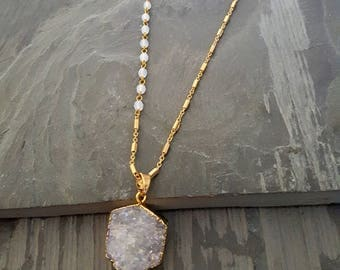 Long Druzy Pendant Necklace, Gold White Bead Opalite Pendant, Long Pendant Necklace, Raw Stone, Gold Chain Pendant, Raw Crystal Pendant