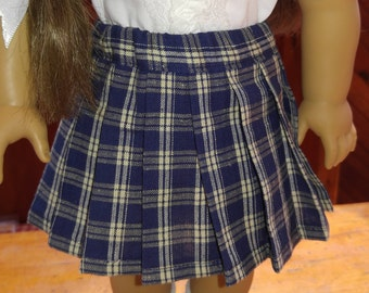 1940s Navy Cream Plaid Pleated Skirt Molly or Emily fits 18 inch doll