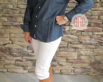 Monogrammed Chambray Button Down Shirt