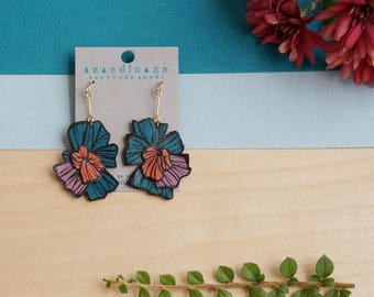 Asymmetrical Abstract Japanese Fractal Flower Floral Sustainable Leather Earrings Painted Radial Blue Creative Art Fall Wedding Graphic