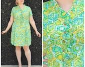 1960s XL Colorful Drop Waist Dress // Green Blue Yellow Floral Print // Nylon Mod Plus Size 60s