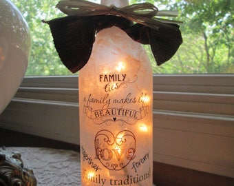 lighted wine bottles,lighted bottles,glass lighted bottles,wine bottle lights,wine bottle lamps,lamp,lamps,family,families,home and living