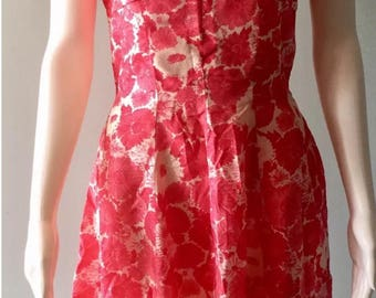 Vintage 1950's new look GiGi Young Pink roses floral fit & flare dress