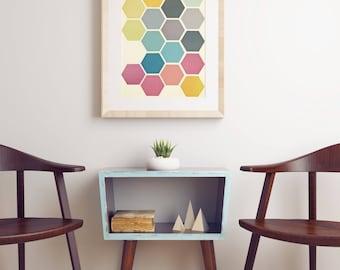 CLEARANCE SALE! Geometric Wall Art, Hexagon Shapes, Retro Wall Art - Honeycomb II