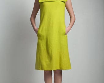 vintage 60s MOD lime green sailor nautical dress sleeveless knee length MEDIUM M