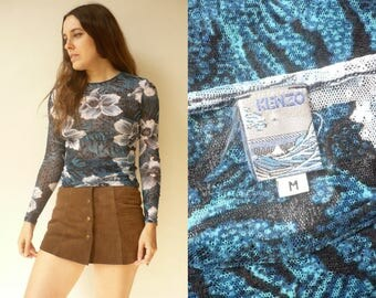 KENZO 1990's Vintage Stretchy Mesh Semi Sheer Body Con Top Blouse Size S/M