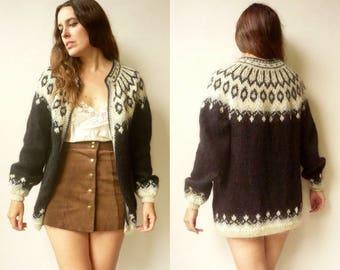 Vintage Oversized Aztec Icelandic Knitted Wool Slouchy Fairisle Tapestry Cardigan