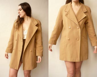 Vintage Oversize Pure New Wool Camel Beige Boyfriend Coat Jacket