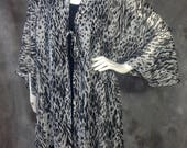 Black and white animal print chiffon cardigan O/S