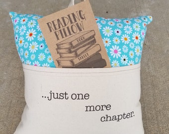 Reading Pillow- just one more chapter- Book Pillow, Travel Pillow