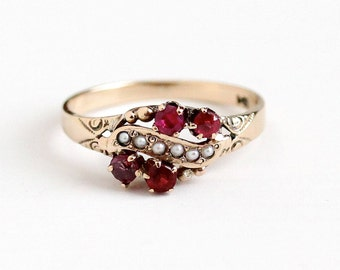 Sale - Antique 10k Rosy Yellow Gold Garnet & Ruby Ring - Size 7 1/4 Vintage Victorian Seed Pearl and Red Pink Gem Heitz Bros HB Fine Jewelry