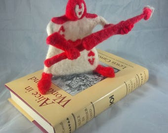 Alice in Wonderland Card Soldier - Needle Felt Hearts Court figure