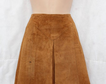 Vintage Brown 100% Real Leather   High Waist A-line Short Mini Ladies Women's Skirt Siae W 25 in. / UK 6