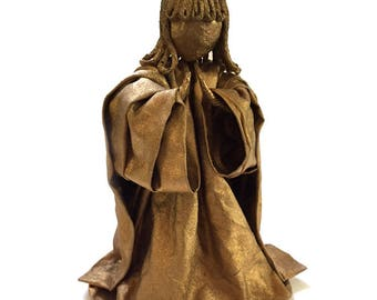 """Vintage 6"""" Paper Cloth Mache Gold Angel Collectible Christmas Holiday Decor"""