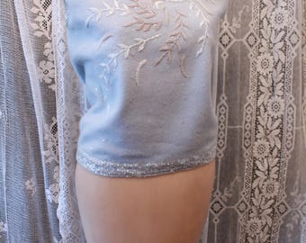Vintage Blue Sleeveless Sweater with Sequins and Beading Wool and Angora