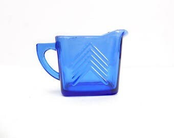 Hazel-Atlas Blue Glass Chevron Creamer