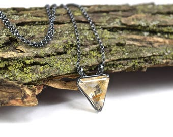 Rutilated Quartz Necklace - Basket Set Pendant in Oxidized Sterling Silver - Rutile Jewelry - Rutilated Quartz Jewelry - Rutile Necklace