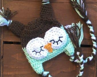 Crochet Baby Hat, Infant Owl Hat, Baby Halloween Hat, Newborn Halloween Hat, Infant Halloween Costume, Baby Costume, Newborn Costume, Infant