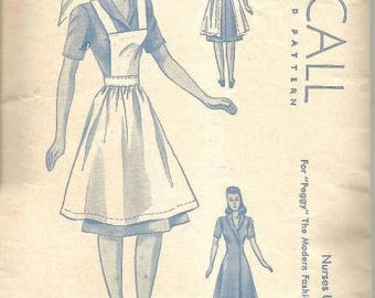 1940s Nurse Uniform for Doll World War Two Pattern for Peggy The Modern Fashion Model McCall 6600-1 Vintage Doll Clothes Sewing Pattern