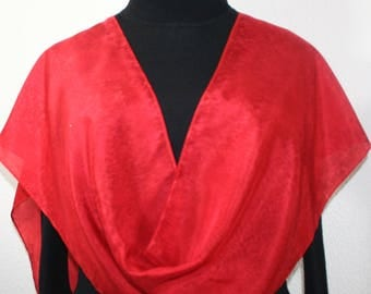 Red Silk Scarf Handpainted. Scarlet Red Hand Painted Silk Shawl. Handmade Scarf RED RAIN. Size 11x60. Birthday Gift, Bridesmaid Gift.