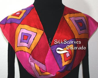 Red Silk Scarf. Orange Hand Painted Scarf. Pink Handmade Silk Shawl RUBY DIAMONDS. Bridesmaid Gift. Gift-Wrapped. Offered in Several SIZES