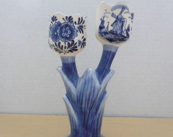 Handpainted Delft Blue Double Tulip Candlestick, Blue Delft Candlesticks, Blue and White Candlesticks, Souvenir of Holland