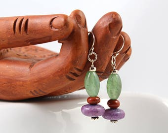 Mix Gem Earrings, Sterling Silver, Gemstone Earrings, Lepidolite Earrings, Green Earrings, Purple Earrings, Boho Earrings, Hippie Earrings