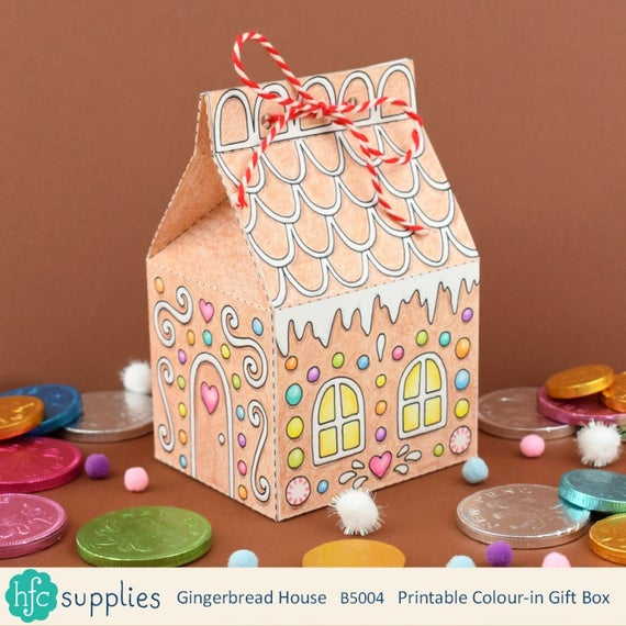 Printable gingerbread house box colour in and make up yourself il570xn solutioingenieria Images