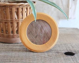 Small Vintage Round Wood Photo Frame, Rare Huon Pine Tasmania