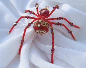 Christmas Spider Ornament in Red Folk Art Tales of Tinsel and Garland