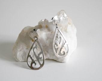 Taxco Large Sterling Teardrop Earrings