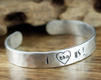 Personalized Wedding Bracelet, Anniversary Bracelet, Custom Cuff Bracelet, Personalized Cuff Bracelet, Stamped Bracelets, Bridal Shower Gift