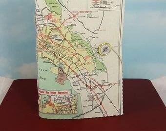 San Francisco Bay California Map Travel Journal with Vintage Rand McNally Atlas Map Cover