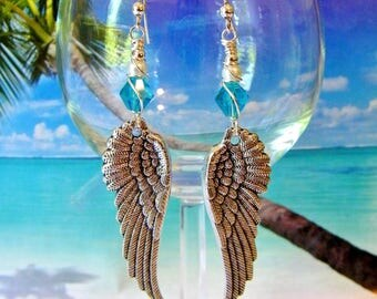 Aqua glass angel wings wire wrapped earrings beach coastal jewelry