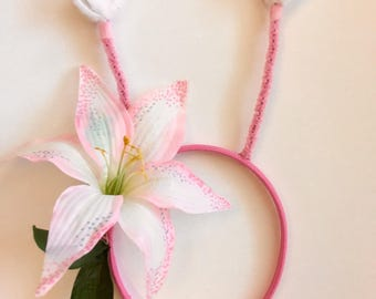Pink Lily Butterfly Antennae headband: cute halloween