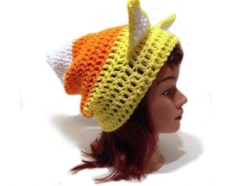 Candy Corn Cat Hat, Candy Corn, Halloween Cat, Cat Ears, Kawaii Cat, Cosplay Hat, Halloween Costume, Cat Stuff, Cat Lover Gift, Cat Beanie