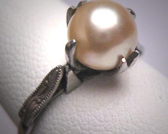 Antique Pearl Wedding Ring Art Deco 14K White Gold Vintage 1920
