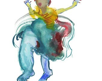 One of a Kind Abstract Figure Watercolor Painting, High Fashion Illustration - 236