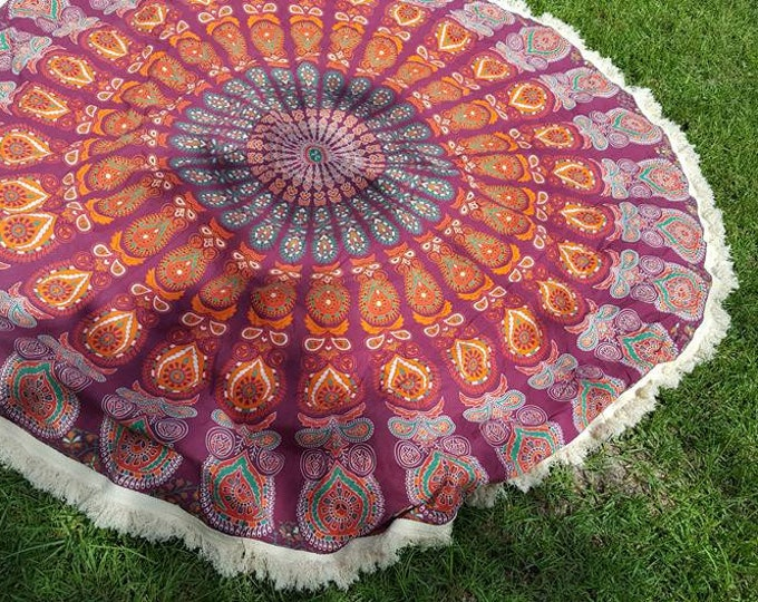 Burgundy and Orange Mandala Roundie with White Fringe Mandala Tapestry Beach Blanket Yoga Mat Meditation Mat Dorm Decor Hippie Tapestry