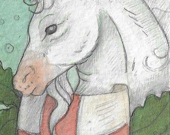 Medieval Unicorn....Original aceo