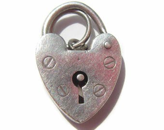Antique Sterling Silver Heart Charm, Padlock Heart Charm for Charm Bracelets, Antique Charm Sweetheart Gift for Her