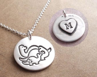 Personalized Dinosaur Family Necklace, Mom, Dad, Baby, New Family, Fine Silver, Sterling Silver Chain, Made To Order