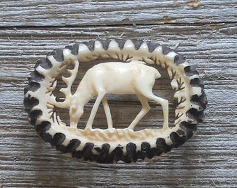 Antique carved bone stag brooch vtg Deer