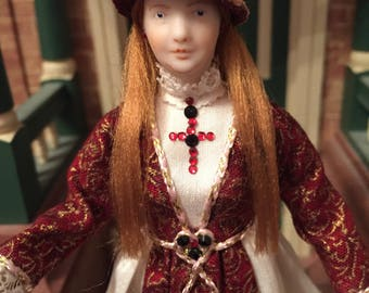 OOAK 1/12 th scale dolls house doll- Elegant 16 th century woman
