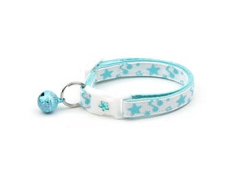 Music Note Cat Collar - Blue Music Notes and Stars - Small Cat / Kitten Size or Large Size