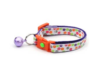 Colorful Cat Collar - Bright & Bold Polka Dots - Small Cat / Kitten or Large Size