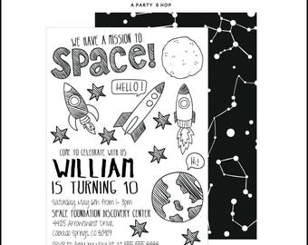 Space Invitation - Space Invite - Space Party - Space Birthday Party  // UNI - 01