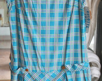 Vintage 1960s Turquoise Plaid Culotte Dress NOS New Old Stock