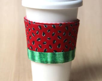 Reversible Coffee Cozy, Coffee Cup Sleeve - Watermelon - Ready to Ship