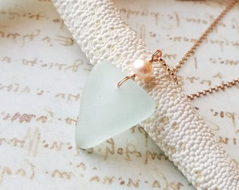 Aqua Beach Glass Necklace, Sea Glass Necklace, Boho Beach Jewelry, Mermaid Tears Jewelry, Hawaiian Beach Glass: Ready to Ship